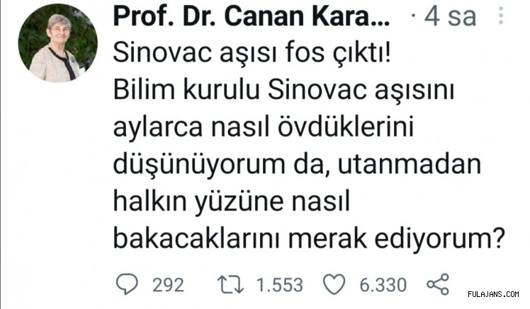 Prof.Dr.Canan Karatay; Sinovac aşısı fos çıktı! dedi